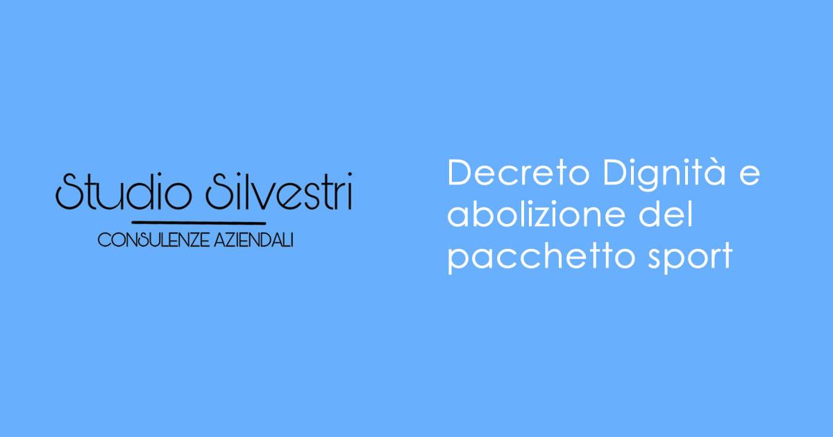 Decreto Dignità e abolizione del pacchetto sport - Studio Silvestri - Commercialista_FB